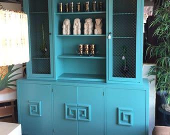 Hollywood Regency Greek Key Turquoise Cabinet