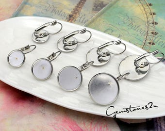 100pc Earring Blank--stainless steel french earwires hooks 8mm / 10mm / 12mm / 14mm / 16mm / 18mm / 20mm French Earwires Hook With Round Pad