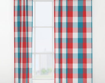 Window Curtains | Rod Pocket Curtain Panel | Red, White U0026 Blue Print  Drapery |