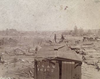 Site of Railroad Depot Explosion Antique 1888 Photo Fountain, CO