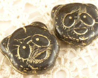 Panda Bear Head Face Black Gold Inlay, Two Sided (2) - P