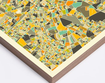 LUSAKA MAP (Ready to Hang, Birch Wood Print for your Home Décor)