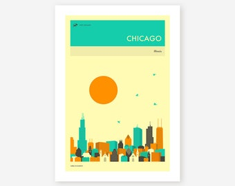 CHICAGO TRAVEL POSTER (Giclée Fine Art Print, Photo Print or Poster Print) by Jazzberry Blue