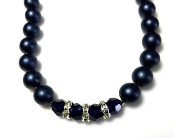 Satin Navy Czech Bead Blue Swarovski Crystal Necklace with Clear Rondelles Beaded Elegant Jewelry Gifts for Her Necklaces for Women