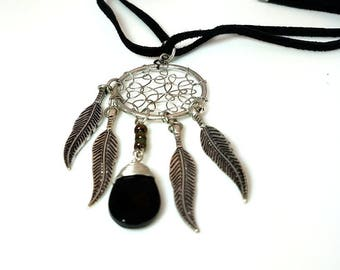 Silver Feathers Black Teardrop Dream Catcher Pendant Necklace Southwest Indian Tribal Pendant Jewelry Gifts for Her Necklaces for Women