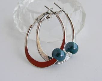 Hoop earrings / minimalist oval Stud - Metal and turquoise ceramic earrings
