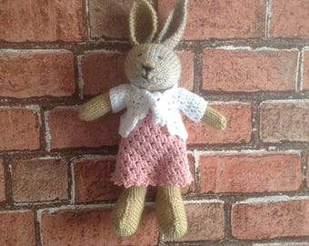 Knitted toy, hand knitted toy, handmade softie, soft toy, kids toy, rabbit toy, dressed bunny, dressed rabbit, present for kids, new baby