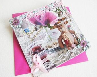 Carte Adolescente - Goûter d'Anniversaire - Collage, Strass et Rubans Fleurs - Papier recyclé - Création d'Artiste, pièce unique