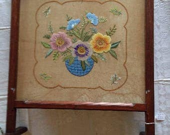 VINTAGE VICTORIAN FIREPLACE screen, hand embroidered fireplace screen
