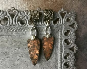 mixed metal assemblage earrings with rolling mill textured and oxidized metal, sterling copper aluminum handcrafted earrings, AnvilArtifacts