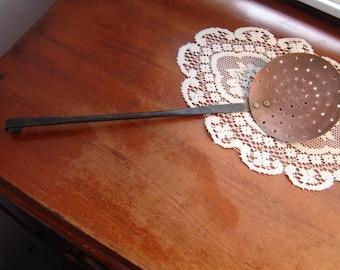 Antique copper skimmer ladle wrought iron hook handle copper rivets primitive vintage kitchen decor French Country