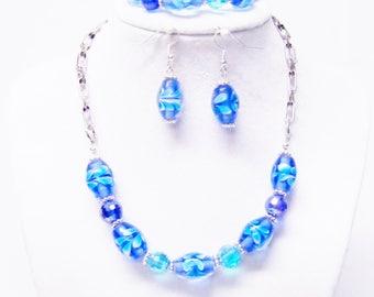 Aqua Blue Flower Lampwork Choker Necklace/Bracelet/Earrings Set