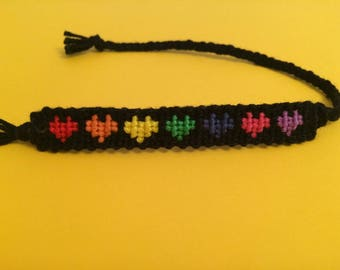 Rainbow Love Heart Floss Friendship Bracelet