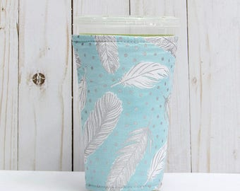 Medium Feathers Coffee Cozy, Misty Silver, Iced Coffee Cozy, Cup Sleeve, Eco Friendly, Insulated Cup Sleeve,