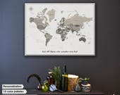 Pushpin World Map with Quot /  Oh The Places You'll Go / Push Pin Travel Map / Travel Gift / Pushpin map / motivational inspire