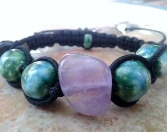 Purple Amethyst Crystal Bracelet Green Blue Ceramic Beads Shamballa Woven Beaded Clay Pottery Bracelet