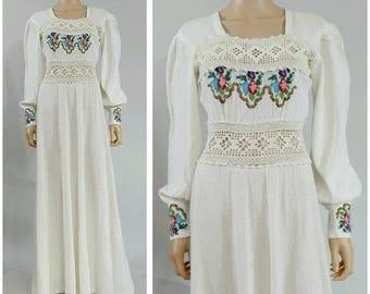 Less 25% 1970s Gauze embroidered crochet Long Dress 1970s boho Dress/70s maxi dress/1970s cotton maxi dress