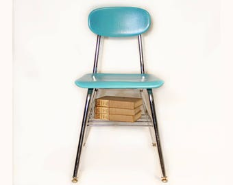 Vintage Metal Frame Student Chair - Adult School Chair - Corex Seating - Upcycled Furniture - Robins Egg Blue - Glitter - Extra Seating