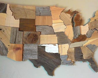 Contiguous USA Map Reclaimed Wood Wall Art State Art United - How to do us map on pallet
