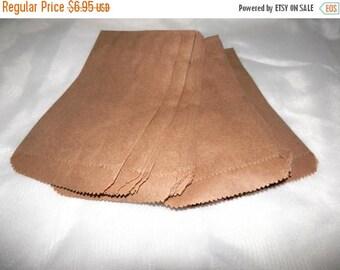 On Sale 100 Mini Kraft 3 1/4 x 5 1/4 inches Flat Paper Bags, Cute Plain 3.25x5.25 Kraft Goodie Paper Favor Bags, Small Kraft Serrated Edge G