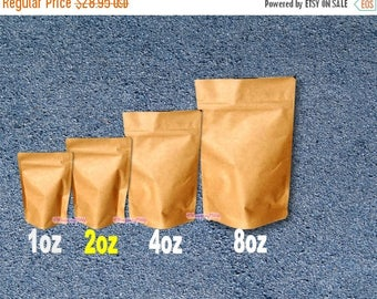 On Sale 100 - 2 oz. Kraft Stand Up Pouch Bags, Food Safe Resealable Bags, Food Packaging, Tea Paper Bags, Coffee Favor Bags, Foil Product Pa