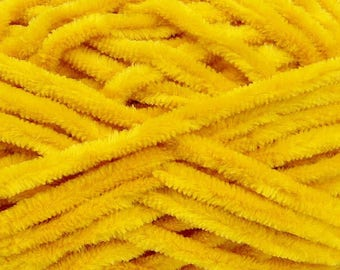 Chenille Yarn. 4 x 100% Micro Fiber yarn, Knitting crochet supplies. Yellow Chunky