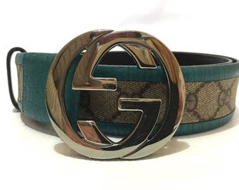 Authentic Gucci Monogram GG Guccissima Turquoise Leather Belt