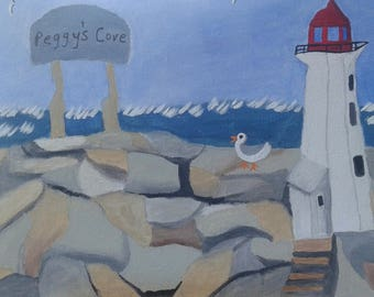 Peggy's Cove Lighthouse Painting in Nova Scotia Atlantic Canada