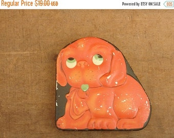 ON SALE vintage metal children's tin of red dog with googly eyes, biscuit toffee tin