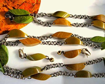 Bakelite Long Necklace, Butterscotch Mustard, Marbled Split Pea Curved Section Links, Silver Chains, Drop Clip Earrings