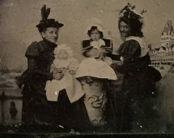 Antique Victorian Tintype Photo - Grinning Women, Fabulous Hats, Bonnets and Babies