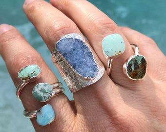 Turquoise Rings, Druzy Rings, Boho Jewelry