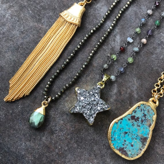Gold Tassel  necklace, Labradorite Necklace, Druzy Star Necklace, Turquoise Necklace