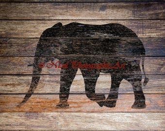 Rustic Elephant Animal Wood Country Home Lodge Decor Cabin Matted Picture A215