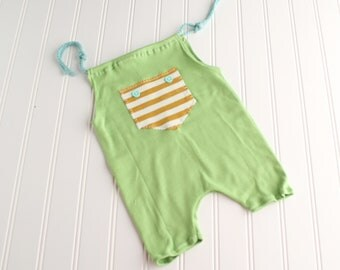 Aqua Zest - Sitter 6-9m romper shortalls in a dusty light lime green with mustard yellow, cream and aqua (RTS)