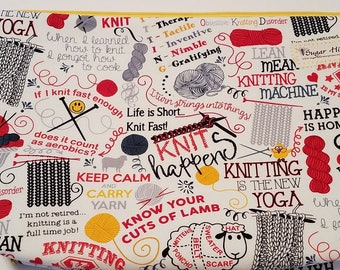 Knitting sayings Large  Zipper Project Bag/Pouch