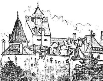Castle Coloring Page Item 6.  Printable Coloring Page, Instant Download Adult Coloring Page.