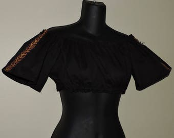 Sm Md - ladies Ultra Mini short sleeve chemise with trim RTS Pirate shirt medieval renaissance clothing SCA ready to ship