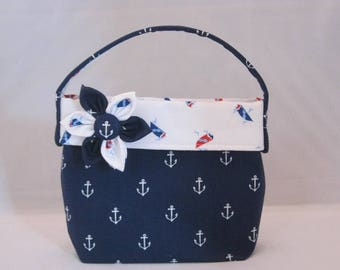 Little Girls' Purse In Anchor And Sailboat Fabric With Detachable Fabric Flower Pin