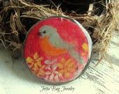 Mr. Bluebird- art resin bird pendant original painting. bluebird bead. rustic woodland bird pendant. nature boho pendant. Jettabugjewelry