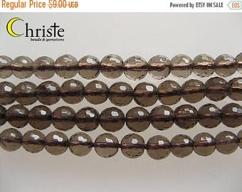 SALE Smoky quartz faceted round beads 6mm 6.5inch strand