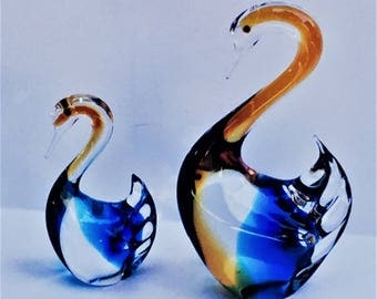Vintage Murano Style Glass Swans, art glass bird figurines, curio cabinet display, home / office decor