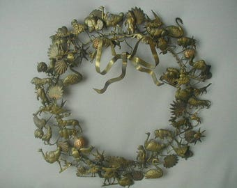 """Vintage Decorative Year Round Wreath, Brass Wreath, Wall Decor, Door Decor, Large Size Approx. 17"""" in Diameter, Patina"""