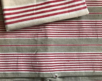 French Linen Ticking, Red, Buff Stripe, Sewing Projects, French Fabric Textiles