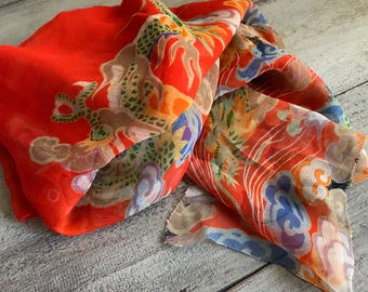 1920s Orange Silk Chiffon Scarf, Wrap, Colorful Asian Inspired Scarf, Dragons