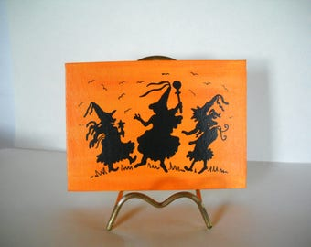 dancing witches silhouette, witch silhouette, Halloween decoration, OOAK, halloween art, halloween canvas, halloween silhouette, witch art