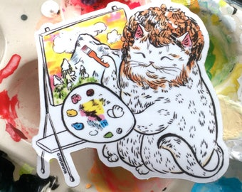 Bob Ross Cat Sticker by PaperPuffin