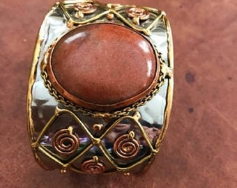 Orange Moonstone Cuff Bracelet