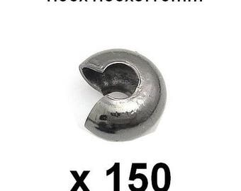 150 cache gun metal 4.50x4.80x3.10mm crimp beads