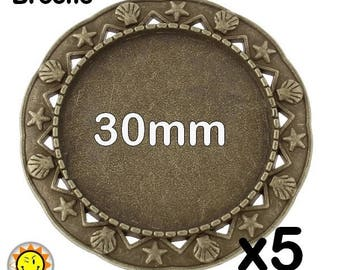 5 supports bronze fancy brooch cabochon 30mm